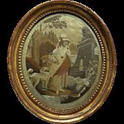 Charming Regency Silk Needlework Of A Shepherdess c1820 - Red Tag Sale Item