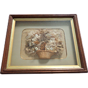 Victorian Sea Weed Collage In Deep Box Frame c1860