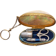 Miniature French Silver Sewing Etui In Shell c1890