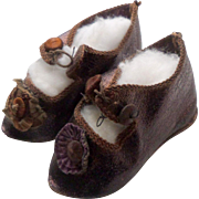 Bronze Leather Doll Shoes Size 6 c1900