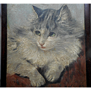 Beautiful Oil Painting Of A Cat c1905