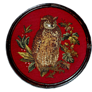 Finely Worked Victorian Beadwork Owl c1880