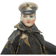 Unusual Bisque Man In Uniform For Dolls House c1910