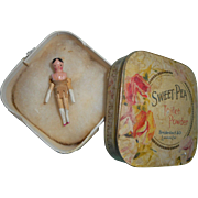 Tiny Old Wooden Peg Doll In Box