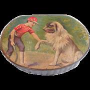 Delightful boy With Dog Papier Mache Box c1910