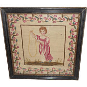 Colourful Victorian Needlepoint Of  A Young Girl