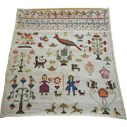 Finely Worked Antique Sampler With Owls, Squirrels & People