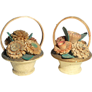Unusual Pair Of Carved Flower Baskets In Miniature