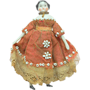 Small Dolls House Doll In Beaded Dress c1890