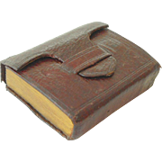 Tiny Book Burgundy Leather Cover c1850