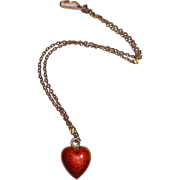 Red Enamel Doll Necklace Puffed Heart c1915