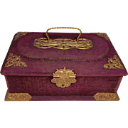 Stunning Grape Colour Gilt Mount Presentation Box For Doll