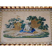 Antique French Needlepoint Mother Cat & Kittens c1890
