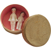 Tiny Fabric Box With Frozen Charlotte's c1900