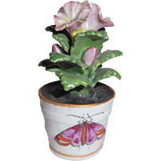 Small Hand Painted Porcelain Flower In Pot