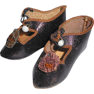 Lovely Antique Bronze Leather Doll shoes  c1900