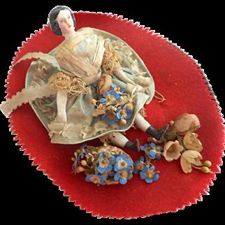 Antique Pen Wipe Bisque Doll c1860