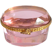 Beautiful Pink Glass & Gilt Box