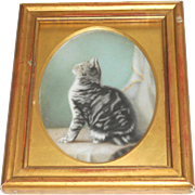 """Watching"" Oil Painting On Glass Of a Cat c1910"