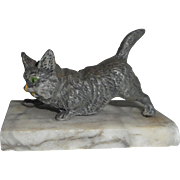 Cold Painted Cat Figural Paperweight c1915