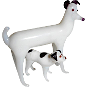 Two French Blown Glass Dogs For Dolls House