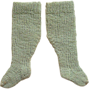 Sea Green Antique Doll Socks Correctly Made c1870