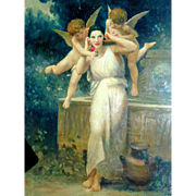 Beautiful Oil Painting Cherubs Classical Scene c1910