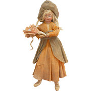 Unusual German Crepe & Bisque Christmas Doll c1915