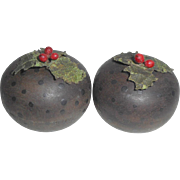 Two Old Painted Wooden Christmas Puddings For Dolls House Or Shop