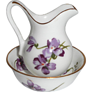 Miniature Violet Pattern China Jug & Bowl For Washstand