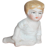 Seated Bisque Round Faced Child For Dolls House c1910
