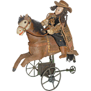 Antique French Papier Mache Cavalier On Horseback c1870