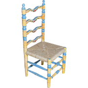 Miniature Artisan Made Ladder Back Chair Hand Painted