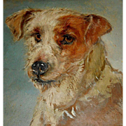 Charming Jack Russell Terrier Oil Painting c1915