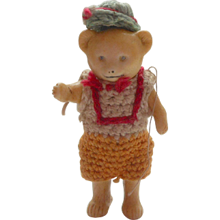 Hertwig All Bisque Teddy Bear Original Crochet Clothing c1910