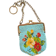 Small Antique Beaded Purse For Doll c1890