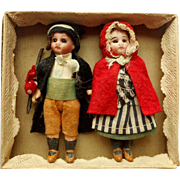 Antique Boxed Pair Of Tiny Dolls c1910