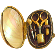 Miniature French Gilt Sewing Etui In Mother Of Pearl Shell c1860