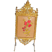 Gilt Painted Soft Metal Firescreen With Embroidered Panel c1910