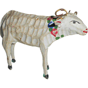 Unusual Painted German Carved Wood Sheep c1915