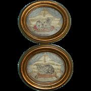 Petite Pair Of Silkwork Pictures Cat & Dog c1830