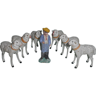 Flock Of Sheep & Shepherd Boy c1910