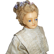 German Portrait Wax Turned Head Lady Doll c1880