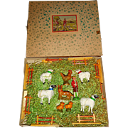 Fab Boxed Farm Set With Putz Sheep c1915