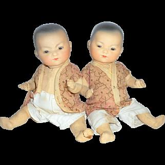 """Twin 8"""" Tall Oriental Babies Ellar Armand Marseille c1915"""
