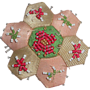 Small Hexagonal Beadwork Pin Cushion c1880