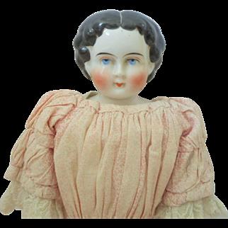 Beautiful China Shoulderhead Doll Original Dress c1880