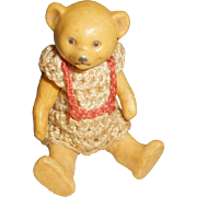 Hertwig All Bisque Baby Teddy Bear Turned Head Original Crochet Clothing c1910