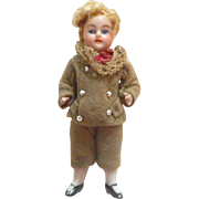 Sweet All Bisque Boy For Dolls House c1900