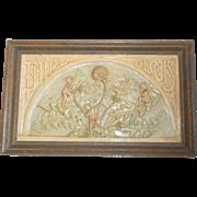 Oblong Ceramic Plaque Fairy Clocks c1900